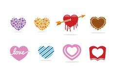 Förälskelsehjärtalogo, symbol och symbol Arkivbild