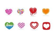 Förälskelsehjärtalogo, symbol och symbol Arkivfoton
