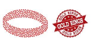 Förälskelsehjärtamosaik av guld- Ring Icon och Grungeskyddsremsan royaltyfri illustrationer