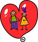 Förälskelsehjärtapar stock illustrationer