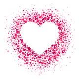 Förälskelsehjärtaram Spridda hjärtakonfettier i hjärtaform, valentinkort och romanska former sprider vektorn vektor illustrationer