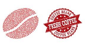 Förälskelsehjärtasammansättning av kaffe Bean Icon och Grungeskyddsremsan vektor illustrationer