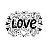 Förälskelseillustration i klotterstil Handbokstäver för dag för valentin` s vektor illustrationer