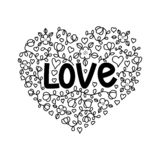 Förälskelseillustration i klotterstil Handbokstäver för dag för valentin` s stock illustrationer