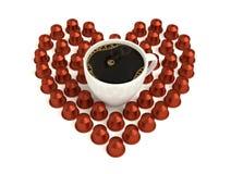 Förälskelsekaffekapslar Arkivbild