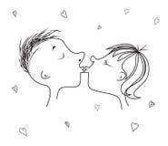 Förälskelsekyssen och hjärtan för dag eller bröllop för valentin` s stock illustrationer
