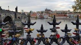 Förälskelselås i Prague royaltyfri bild