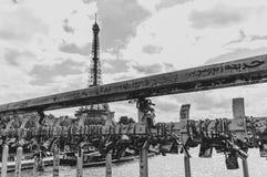 Förälskelselås på en bro över Seinen i Paris royaltyfri foto