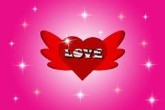 Förälskelsemeddelanden i röd hjärta som formas med vingar på rosa bakgrund vektor illustrationer