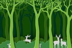 Förälskelsenatur med djurt djurliv i gröna trän, pappers- konstdesign för världsskogdag, baner eller affisch royaltyfri illustrationer