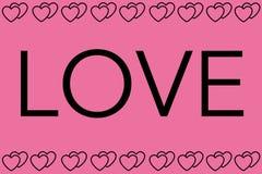 Förälskelseord med rosa bakgrund Hjärtor planlägger som gränsen Användas för artiklar och att skriva ut, kan illustrationavsikt,  royaltyfri illustrationer