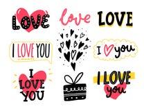 Förälskelseord och hand drog hjärtor Uppsättning av romantiska klistermärkear för kort för hälsning för dag för valentin` s, bröl stock illustrationer