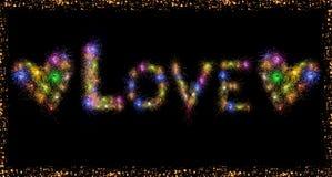 Förälskelseordtext och hjärta formar färgrika fyrverkerier Royaltyfri Foto