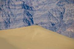 Förälskelsepar - ökenliv - berg i bakgrunden royaltyfri fotografi