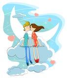 Förälskelsepar på molnet Arkivfoton