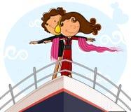 Förälskelsepar på skeppdäck i romantiker poserar royaltyfri illustrationer