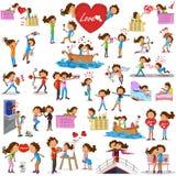 Förälskelsepar som gör olika aktiviteter Royaltyfri Fotografi