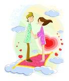 Förälskelsepar som svävar i cloudscape Fotografering för Bildbyråer