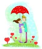 Förälskelsepar under paraplyet Royaltyfri Bild