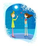 Förälskelsepojke som blåser bubblahjärta på flicka Royaltyfria Foton