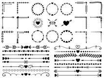 Förälskelseprydnader Gifta sig dekorativa hjärtor, den dekorativa hjärtagränsen och uppsättningen för beståndsdelar för vektor fö royaltyfri illustrationer