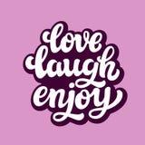 Förälskelseskrattet tycker om Typografitext Arkivbild