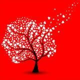 Förälskelseträd med starka hjärtor stock illustrationer