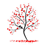 Förälskelseträd med två fåglar Arkivfoto