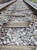 Föråldrad järnväg på träingångarna Royaltyfria Foton