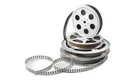 Föråldrat massmedia Film i spolar som isoleras på vit Royaltyfria Bilder