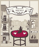För ââ¬â för stadsââ¬â ¹ cafe ¹ stock illustrationer