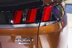För — Peugeot 4008 för auto show närbild för ljus för svans bil Royaltyfri Fotografi