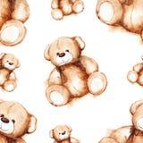 För älskvärda Teddys Bear Saint Valentines för tecknad film sömlös modell dag royaltyfri illustrationer