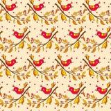 för ändlös blom- seamless textur blommamodell för fåglar Royaltyfri Bild