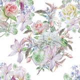 för ändlös tegelplatta för fjäder blommamodell för bakgrund seamless Steg Krysantemum clematis Hyacint blomning iris vattenfärg Arkivbilder