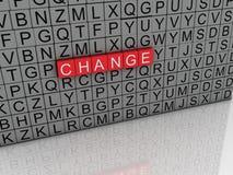 för ändringsbegrepp för imagen 3d bakgrund för moln för ord Arkivfoto
