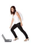 för ängel som bärbar dator nyfiket pekar kvinnan Arkivfoton