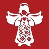 För ängelwhith för vit jul hjärta i hans händer på den röda bakgrunden Konturn av ängeln kan använda för kortet, laser klippa plo Royaltyfri Foto