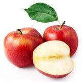 för äpple red två half Arkivfoton