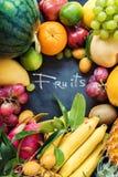 För ätabegrepp för tropiska frukter rått mörker för mat Arkivfoton