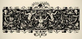 för århundradegravyr för 16 arabesque renässans Arkivbild