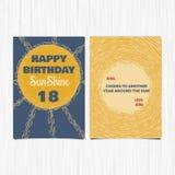 För årshälsning för lycklig födelsedag 18th kort Arkivbilder