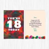 För årshälsning för lycklig födelsedag 18th kort Arkivfoton
