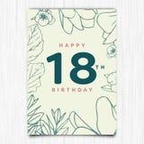 För årshälsning för lycklig födelsedag 18th kort Royaltyfria Foton