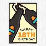 För årshälsning för lycklig födelsedag 18th kort vektor illustrationer