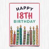 För årshälsning för lycklig födelsedag 18th kort Arkivbild