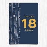 För årshälsning för lycklig födelsedag 18th kort stock illustrationer