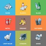 För återvinningkategorier för avfall förlorade typer stock illustrationer