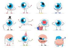 För ögonboll för tecknad film poserar gulliga roliga sinnesrörelser för tecken för emoticon uppsättningen vektor illustrationer