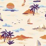 För ömodellen för tappning utformar det sömlösa landskapet med palmträd, yachten, stranden och den drog havhanden royaltyfri illustrationer